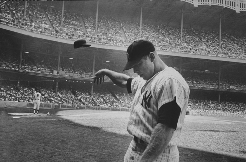Most Iconic Sports Photos Mickey Mantle Takes Out His Bad Day On His Batting Helmet