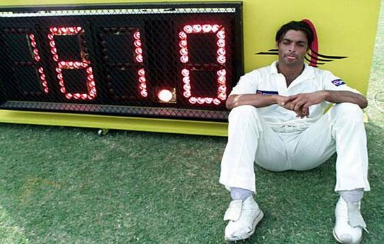 Shoaib Akhtar after bowling a delivery of 161 km/h.